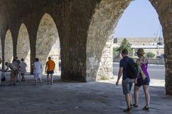 Iraklio, Kreta/Griechenland Ansicht der venetianischen Werfte nahe dem alten Hafen von Iraklio Lizenzfreie Stockfotos