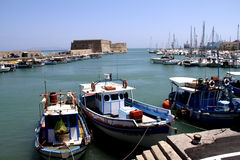 Iraklio port in Crete. Iraklio port with Venetian fortress and yachts Stock Images