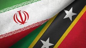 Iran, święty i dwa flagi tekstylny płótno, tkaniny tekstura royalty ilustracja