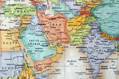 Iran. Map of iran,iraq,and the middle east royalty free stock photo