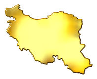 Iran 3d Golden Map Stock Photography