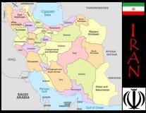 Iran Administrative divisions. Iran map flag and coat Royalty Free Stock Photo