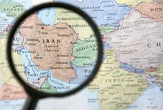 Iran and Afghanistan on a map Royalty Free Stock Images