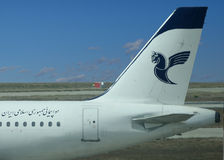 Iran Air logo on airplan. Stock Photo