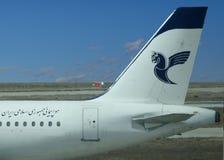 Iran Air logo on airplan. Stock Photo