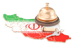 Iran booking concept. Iranian flag with hotel key and reception. Bell Royalty Free Stock Images