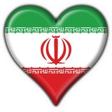 Iran button flag heart shape Royalty Free Stock Photo