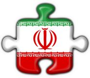 Iran button flag puzzle shape Royalty Free Stock Images