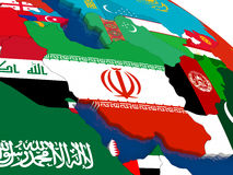 Iran on 3D map with flags Royalty Free Stock Photo
