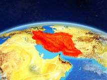 Iran on Earth from space. Iran on planet Earth with country borders and highly detailed planet surface and clouds. 3D illustration. Elements of this image royalty free stock photography