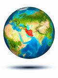 Iran on Earth with white background. Iran in red on model of planet Earth hovering in space. 3D illustration isolated on white background. Elements of this image royalty free stock photo