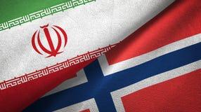 Iran en Noorwegen twee vlaggen textieldoek, stoffentextuur vector illustratie