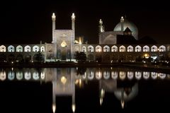 Iran, Esfahan at night, Illuminated Emam mosque and square royalty free stock images