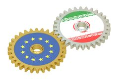 Iran and EU flags on a gears, 3D rendering Stock Photos
