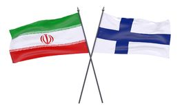 Two crossed flags. Iran and Finland, two crossed flags isolated on white background. 3d image Royalty Free Stock Images