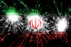 Iran fireworks sparkling flag. New Year, Christmas and National day concept.  stock illustration