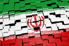 Iran flag background formed from digital mosaic tiles, 3D rendering. Modern 3D rendered concept of numerous square tiles sliding together to form the national Royalty Free Stock Photos