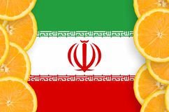 Iran flag in citrus fruit slices vertical frame. Iran flag in vertical frame of orange citrus fruit slices. Concept of growing as well as import and export of vector illustration