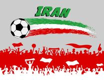 Iran flag colors with soccer ball and Persian supporters silhoue. Ttes. All the objects, brush strokes and silhouettes are in different layers and the text types Royalty Free Stock Photography