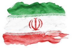 Iran flag is depicted in liquid watercolor style isolated on white background. Careless paint shading with image of national flag. Independence Day banner stock photo