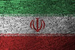 Iran flag is depicted on the screen with the program code. The concept of modern technology and site development.  stock illustration