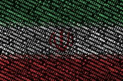 Iran flag is depicted on the screen with the program code. The concept of modern technology and site development.  vector illustration