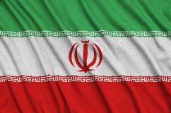 Iran flag is depicted on a sports cloth fabric with many folds. Sport team banner. Iran flag is depicted on a sports cloth fabric with many folds. Sport team stock illustration