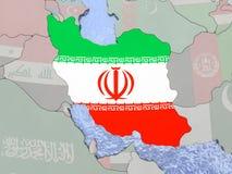 Iran with flag on globe Royalty Free Stock Photo