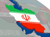Iran with flag Royalty Free Stock Photo