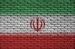 Iran flag is painted onto an old brick wall vector illustration