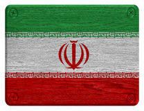 Iran flag. Painted on wooden tag royalty free stock photography