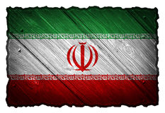 Iran flag. Painted on wooden tag stock photo