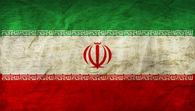 Iran Flag on Paper. Flag on an old Paper Texture Stock Images