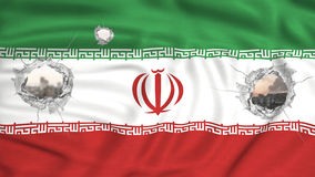 Iran flag  see throught bombed city on background Royalty Free Stock Photos