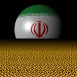 Iran flag sphere and radioactive warning signs illustration. Iran flag sphere and radioactive warning signs and black background 3d illustration Stock Photography