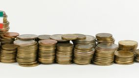Iran flag with stack of money coins. Iran flag waving with stack of money coins stock footage