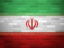 Brick wall Iran flag Royalty Free Stock Photo