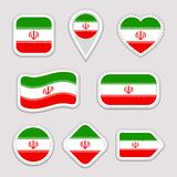 Iran flag vector set. Iranian flags stickers collection. Isolated geometric icons. Persian national symbols badges. Web stock illustration