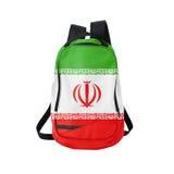 Iran flaggaryggsäck som isoleras på vit Fotografering för Bildbyråer