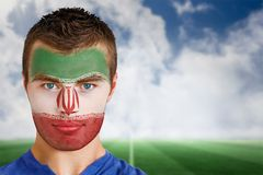Iran football fan in face paint Stock Image
