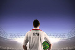 Iran football player holding ball Stock Photography