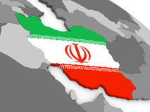 Iran on globe with flag Royalty Free Stock Photography