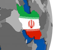 Iran on globe with flag Stock Photography