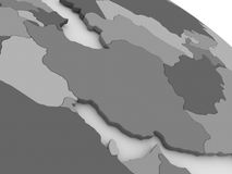 Iran on grey 3D map Stock Photography