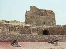 Iran, Hormuz Island Portuguese mighty fortress. 500 years old ruins.The Captain's main turret faces the Sea,controlling the strategic Hormuz Strait, under the stock photography