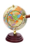 Iran, Iraq and Afghanistan on the globe under a ma. Gnifier stock photography
