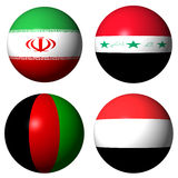 Iran Iraq Afghanistan Yemen flags Royalty Free Stock Images
