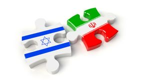 Iran and Israel flags on puzzle pieces. Political relationship c Royalty Free Stock Images