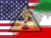 Iran kärn- avtalsförhandling eller samtal med USA - 2d illustration vektor illustrationer