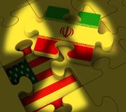Iran kärn- avtalsförhandling eller samtal med USA - illustration 3d stock illustrationer